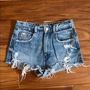 Zara High Rise Destroyed Denim Shorts
